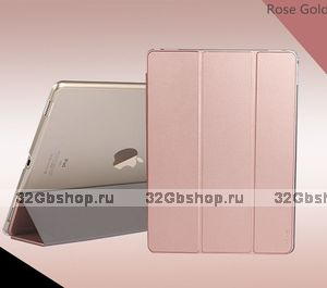 Чехол книжка Usams для iPad Pro 12.9 розовое золото Uview Series Smart Case Rose Gold