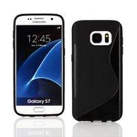 Cиликоновый чехол c волной для Samsung Galaxy S7 черный - S Line Wave Silicone Case Black