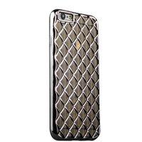 Объемный силиконовый чехол для iPhone 6s / 6 прозрачно-черный с серыми ромбами