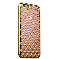 Объемный силиконовый чехол для iPhone 6s / 6 прозрачно-розовый с золотистыми ромбами