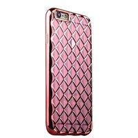 Объемный силиконовый чехол для iPhone 6s / 6 прозрачно-розовый с розовыми ромбами