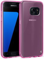 Прозрачный розовый силиконовый чехол для Samsung Galaxy S7