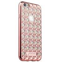 Cиликоновый чехол со стразами для iPhone 6s/ 6 (4.7) розовое золото