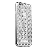 Cиликоновый чехол со стразами для iPhone 6s/ 6 (4.7) серебро
