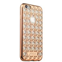 Cиликоновый чехол со стразами для iPhone 6s/ 6 (4.7) золото