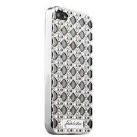 Серебряный силиконовый объемный чехол для iPhone 5s / SE/ 5 со стразами