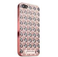 Розово-золотой силиконовый объемный чехол для iPhone 5s / SE/ 5 со стразами