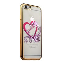 Тонкий силиконовый чехол с золотым ободком для iPhone 6s/ 6 сердце со стразами