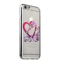 Тонкий силиконовый чехол с серебряным ободком для iPhone 6s/ 6 сердце со стразами