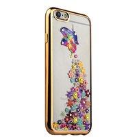 Тонкий силиконовый чехол со стразами бабочка с цветами для iPhone 6s/ 6 с золотым ободком