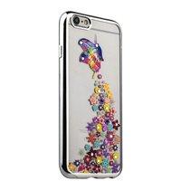 Тонкий силиконовый чехол со стразами бабочка с цветами для iPhone 6s/ 6 с серебряным ободком