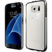 Тонкий прозрачный силиконовый бампер для Samsung Galaxy S7 с черными гранями