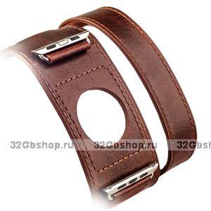 Ремешок кожаный i Carer Classic Genuine Leather Quadri-Watchband Series для Apple Watch 38мм - Темно коричневый