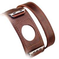 Ремешок кожаный i Carer Classic Genuine Leather Quadri-Watchband Series для Apple Watch 42мм - Темно коричневый