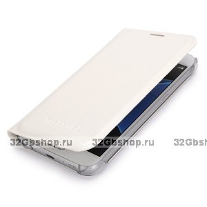 Белый чехол книжка Wallet Card Flip Cover для Samsung Galaxy S7