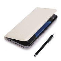 Белый чехол книжка Wallet Card Flip Cover для Samsung Galaxy S7 Edge