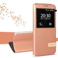 Чехол книжка с окном розовое золото Usams для Samsung Galaxy S7 Edge