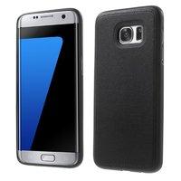 Силиконовый чехол под кожу для Samsung Galaxy S7 Edge черный с прострочкой