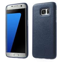 Силиконовый чехол под кожу для Samsung Galaxy S7 Edge синий с прострочкой