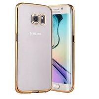 Прозрачный силиконовый чехол с золотым бампером для Samsung Galaxy S7 Edge
