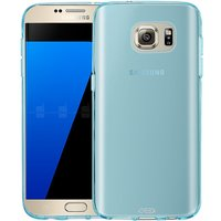 Голубой прозрачный силиконовый чехол для Samsung Galaxy S7