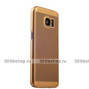 Золотой пластиковый чехол для Samsung Galaxy S7 ультратонкий с перфорацией