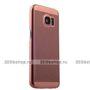 Ультратонкий пластиковый чехол с перфорацией для Samsung Galaxy S7 розовое золото