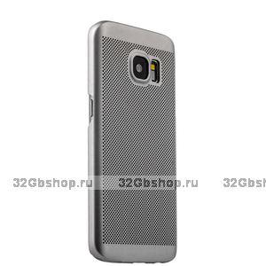 Серебристая пластиковая ультратонкая накладка для Samsung Galaxy S7 чехол с перфорацией