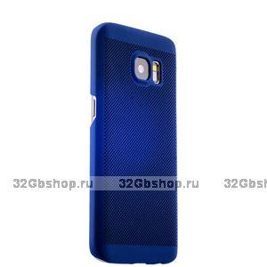 Синий пластиковый чехол для Samsung Galaxy S7 ультратонкий с перфорацией