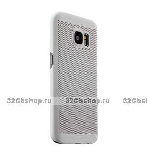 Белая пластиковая накладка для Samsung Galaxy S7 ультратонкая с перфорацией