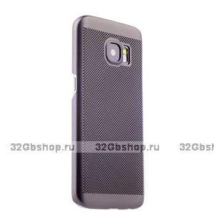 Серый пластиковый чехол накладка для Samsung Galaxy S7 с перфорацией