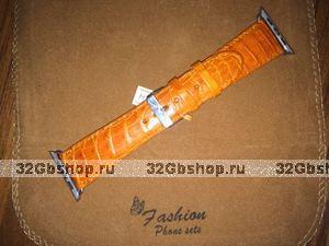 Оранжевый ремешок из кожи крокодила для Apple Watch 42мм