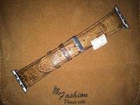 Коричневый кожаный ремешок из кожи крокодила для Apple Watch 42мм