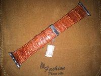 Светло-коричневый кожаный ремешок из кожи крокодила для Apple Watch 42мм