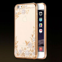 Супертонкий прозрачный силиконовый чехол цветы и стразы для iPhone 6s/ 6 с золотистым ободком