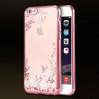 Супертонкий прозрачный силиконовый чехол со стразами и цветами для iPhone 6s / 6 с ободком розовое золото
