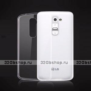 Прозрачный силиконовый чехол накладка для LG G2