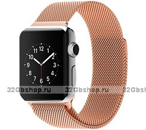 Стальной магнитный ремешок для Apple Watch 42mm браслет миланское плетение Rose gold - Розовое золото