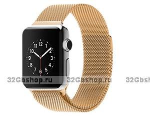 Стальной магнитный ремешок для Apple Watch 42mm браслет миланское плетение gold - золото