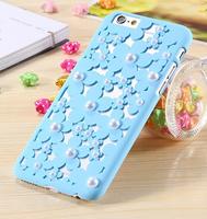 Пластиковый чехол накладка с рисунком цветы и жемчужины для iPhone 6s / 6 голубой