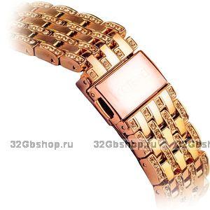 Металлический ремешок со стразами для Apple Watch 42мм розовое золото - COTEetCI W4 Magnificent Band Rose Gold
