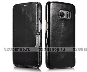 Черный кожаный чехол книжка для Samsung Galaxy S7 - i-Carer Vintage Series Black