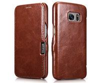 Коричневый кожаный чехол книжка для Samsung Galaxy S7 - i-Carer Vintage Series Brown