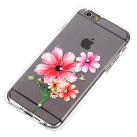 """Прозрачный силиконовый чехол для iPhone 6s / 6 (4.7"""") с рисунком красные цветы и стразами"""