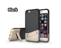 """Чехол накладка противоударный с подставкой (комбинированный пластик + силикон ) для iPhone 6 / 6s (4.7"""") черный"""