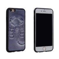 """Черный силиконовый чехол с коженой накладкой и тиснением рисука для iPhone 6s / 6 (4.7"""") рисунок Скорпион"""