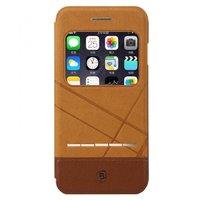 Коричневый чехол книжка с окошком на iPhone 7 - Baseus Unique leather case for iPhone 7