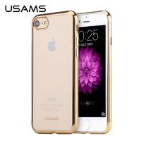 Силиконовый чехол с золотыми краями для iPhone 7 - USAMS Luxury Kim Series Gold Transparent Case