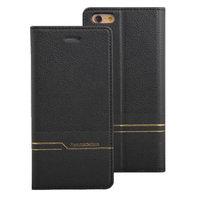 Черный кожаный чехол книга для iPhone 7 Plus кошелек с отделением для карт - Peacocktion Venus Series Black