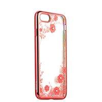 Розовый пластиковый чехол для iPhone 7 накладка со стразами сиреневые цветы